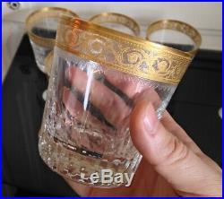 Série de 6 verres à Whisky en Cristal et dorure Saint Louis Modéle Thistle