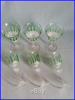 +++ Série de 6 verres à eau N°2 roemer cristal SAINT LOUIS TOMMY vert clair +++