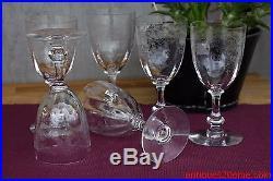 Série de 6 verres à eau en cristal de Saint Louis modèle Massenet gravure Cléo