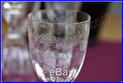 Série de 6 verres à vin en cristal de Saint Louis modèle Massenet gravure Cléo