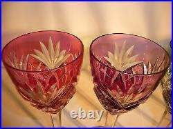 Série de 6 verres eau vin cristal Saint LOUIS modèle Chantilly de couleur