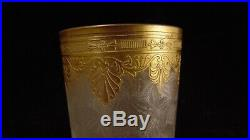 Service 4 gobelets en cristal de St Louis ou Baccarat avec belle dorure gravure