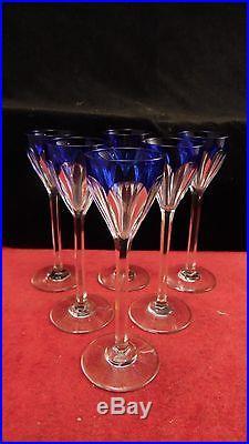 Service 6 verres liqueurs cristal doublé bleu, Baccarat Genova St Louis Bristol