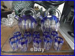 Service A Liqueur Cristal Saint Louis Overlay Bleu XIX Eme Avec Plateau