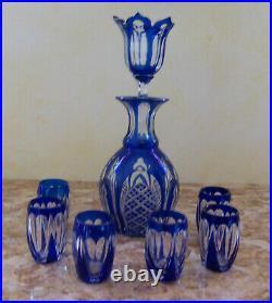 Service A Liqueur En Cristal Bleu Double Couche Saint Louis