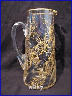 Service à orangeade en cristal émaillé à l'or Baccarat ou Saint Louis