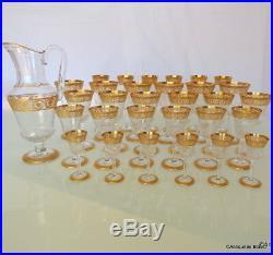 Service de 30 verre en Saint St Louis Cristal Thistle Or signé parfait état