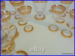 Service de 48 verre en Saint St Louis Cristal Thistle Or signé parfait état