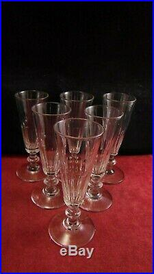 Service de 6 flutes Louis Philippe cotes plates en cristal de St Louis Baccarat