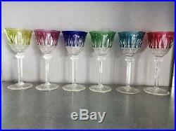 Service de 6 verres à pied / à vin CRISTAL DE ST LOUIS ROEMER. 6 couleurs