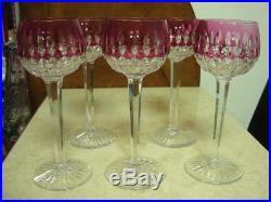 St Louis 5 verres vin Roemer de Couleur Cristal taillé / Signés 18,5 cm
