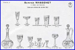 St Louis Massenet Côtes Venitiennes Carafe 6 Verres A Vin Cristal