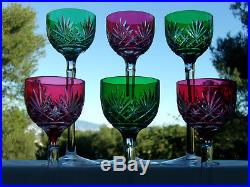 St Louismassenet6 Verres Vin Porto 16,7cm Cristal Overlay Rouge/vert Jambe Hte