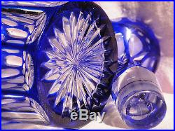 Sublime carafe ancienne en cristal Overlay Bleu de Cobalt Baccarat St Louis