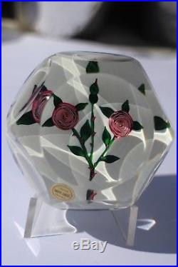 Sulfure Presse-Papiers Saint Louis Paperweight''Roses type Clichy'