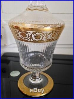 Superbe Carafe à liqueur en Cristal et dorure Saint Louis Modéle Thistle