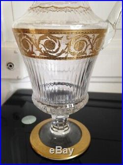Superbe Pichet Broc en Cristal et dorure Saint Louis Modéle Thistle