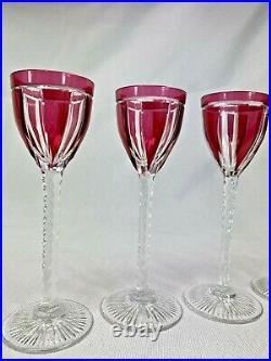 Superbe Serie 7 Verres Porto Cristal St Louis Taille Double Rouge Art Deco 1930