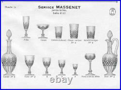 Superbe Service 12 VERRES EAU Cristal Taillé SAINT-LOUIS fin XIXe 1900 MASSENET
