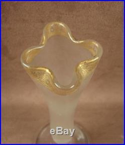 Superbe Vase Soliflore En Cristal Givré A L'acide Emaillé D'or Baccarat St Louis