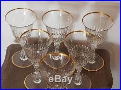 Tres Jolie 6 Grands Verres En Cristal De Saint Louis Modele Lozere Rehausse Or