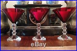 Trois verres à martini Baccarat Vega couleur rubis Lalique Daum saint Louis Luxe