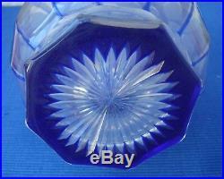 V35 Grande Carafe Cristal St Louis XIXe Taillé Doublé Bleu Ancien Baccarat