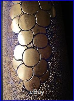 VASE CRISTAL Art Déco gravé acide et à la roue BLEU FONCÉ doré à l'or St Louis