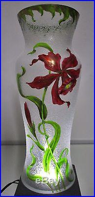 VASE émaillé ART NOUVEAU gravé à l'acide fleur orchidée, Baccarat Saint Louis