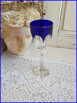 VERRE A VIN DU RHIN ROEMER CRISTAL SIGNE SAINT LOUIS MODELE CHAMBORD(bleu)