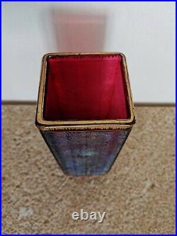 Vase En Cristal Rouge Moiré Et Irisé, MontjoieSaint-Louis, Epoque 1900