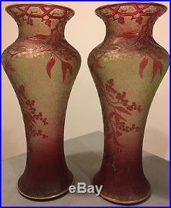 Vase Pâte De Verre Cristallerie Saint Louis Baccarat Art Nouveau Décor Floral