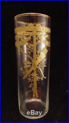 Vase rouleau en cristal avec décor en dorure Louis XVI, Baccarat St Louis