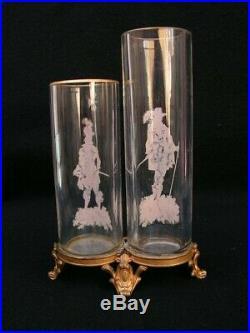 Vases Emailles Monture Bronze Baccarat Enamel Glass Legras Montjoye Saint Louis