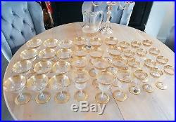 Verre Saint Louis Modele Thistle Or 37 Pièces Neuves 12 Eau 12 Vin 12 Champagne