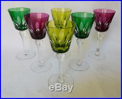 Verre à vin du Rhin ROEMER cristal de ST LOUIS modèle JERSEY overlay vert SIGNE
