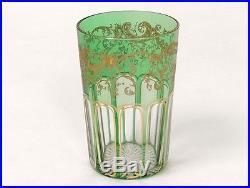 Verre gobelet cristal Saint-Louis dorure feuillage french glass XIXè siècle