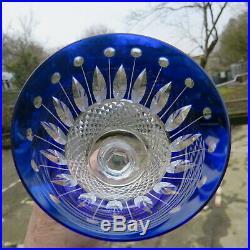 Verre roemer en cristal de saint louis tommy de couleur bleu H 19,7 cm