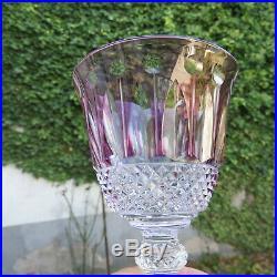 Verre roemer en cristal de saint louis tommy de couleur mauve signé H 19,8 cm