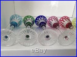 Verres à liqueur cristal coloré Saint Louis Modèle Tommy
