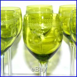 Verres à vin Rhin x6 ROEMER Vert Chartreuse MADRID Saint-Louis /Laurier Couronne