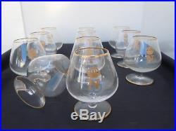 Verres cognac fine Napoleon cristal St louis France modèle Tenareze or